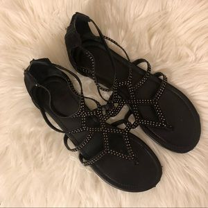 Express Black Studded Flat Cage Sandals